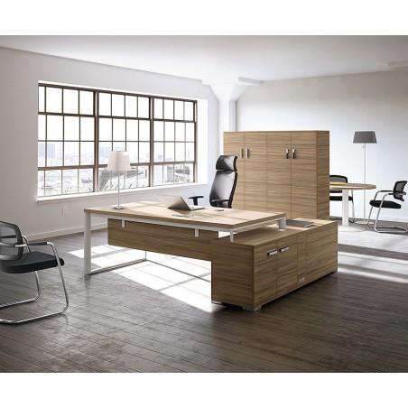 CREMIEU - Ensemble bureau rectangulaire en bois et desserte porteuse