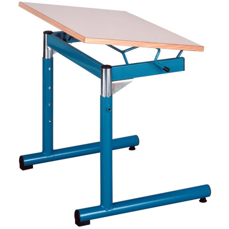 table inclinable - ecolier, 1 place - 70x50cm, stratifié, taille 4 à 7
