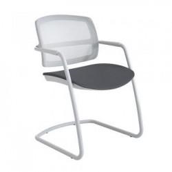 CLAIRAC - Chaise visiteur en tissu et résille