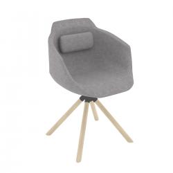 MILFORD - Chaise pied bois pivotant