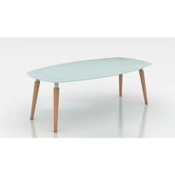 MATARA Table de réunion avec plateau en verre