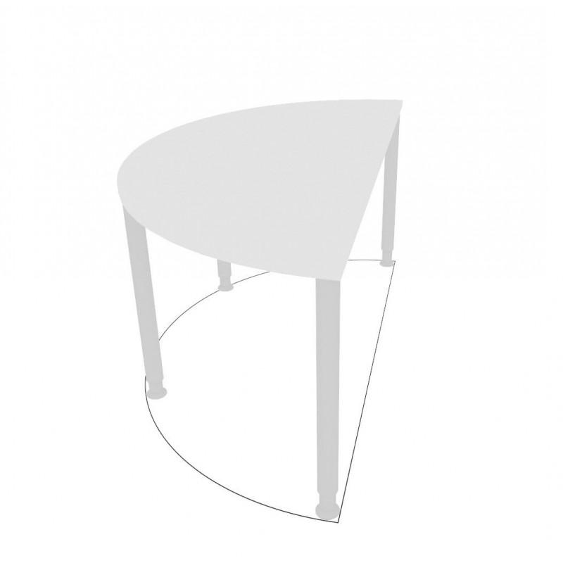 MORALZA Table en demi-rond avec pied réglables.