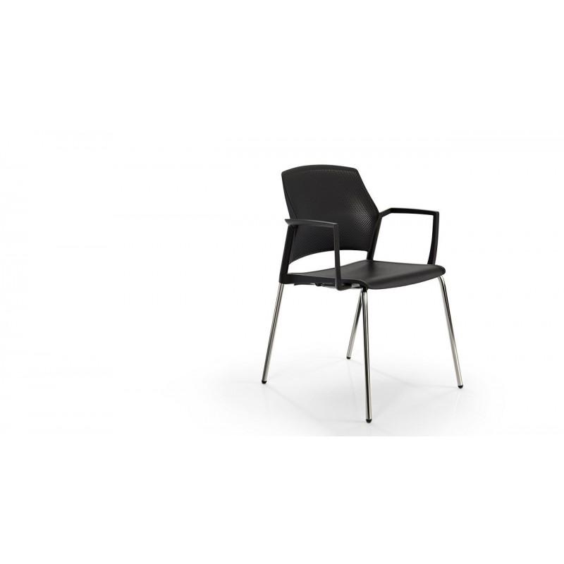 MOSTO  Chaise visiteur 4 pieds avec accoudoirs.
