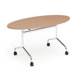 NOCARIO Table de réunion ovale, mobile et plateau basculant