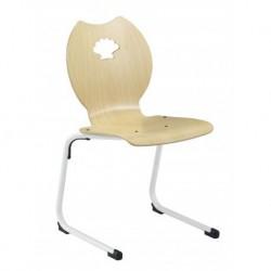 SPINCOURT Chaise scolaire appui sur table avec coque bois, décoration coquillage.
