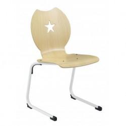 SPINCOURT Chaise scolaire appui sur table avec coque bois, décoration étoile.