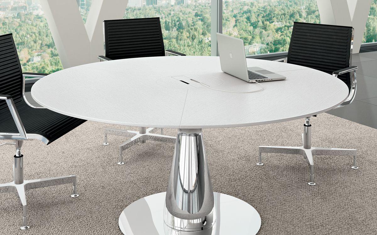 Table Ronde Pietement Design Chrome Plateau Avec Trappe