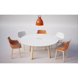 BACOLI Table Ronde diamètre 160 cm piètement bois.