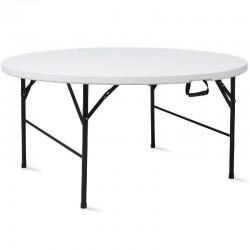 LACHOME Table pliante ronde diamètre 1830 mm. Utilisation intérieure et extérieure. Plateau en polyéthylène.