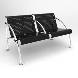 LACLUSE Chauffeuse métal, garniture en tôle perforée 2 places avec accotoirs