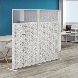 ABBANS Cloison acoustique panneau bois absorbant avec la partie supérieur en plexiglas