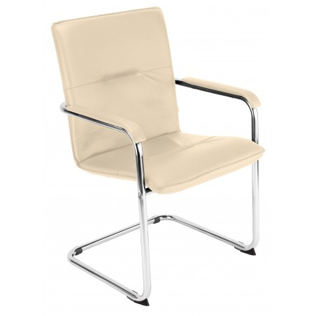 PIA - Chaise simili cuir noir ou blanc