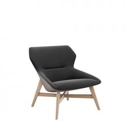 Bonn Fauteuil lounge avec dossier bas et piétement en bois